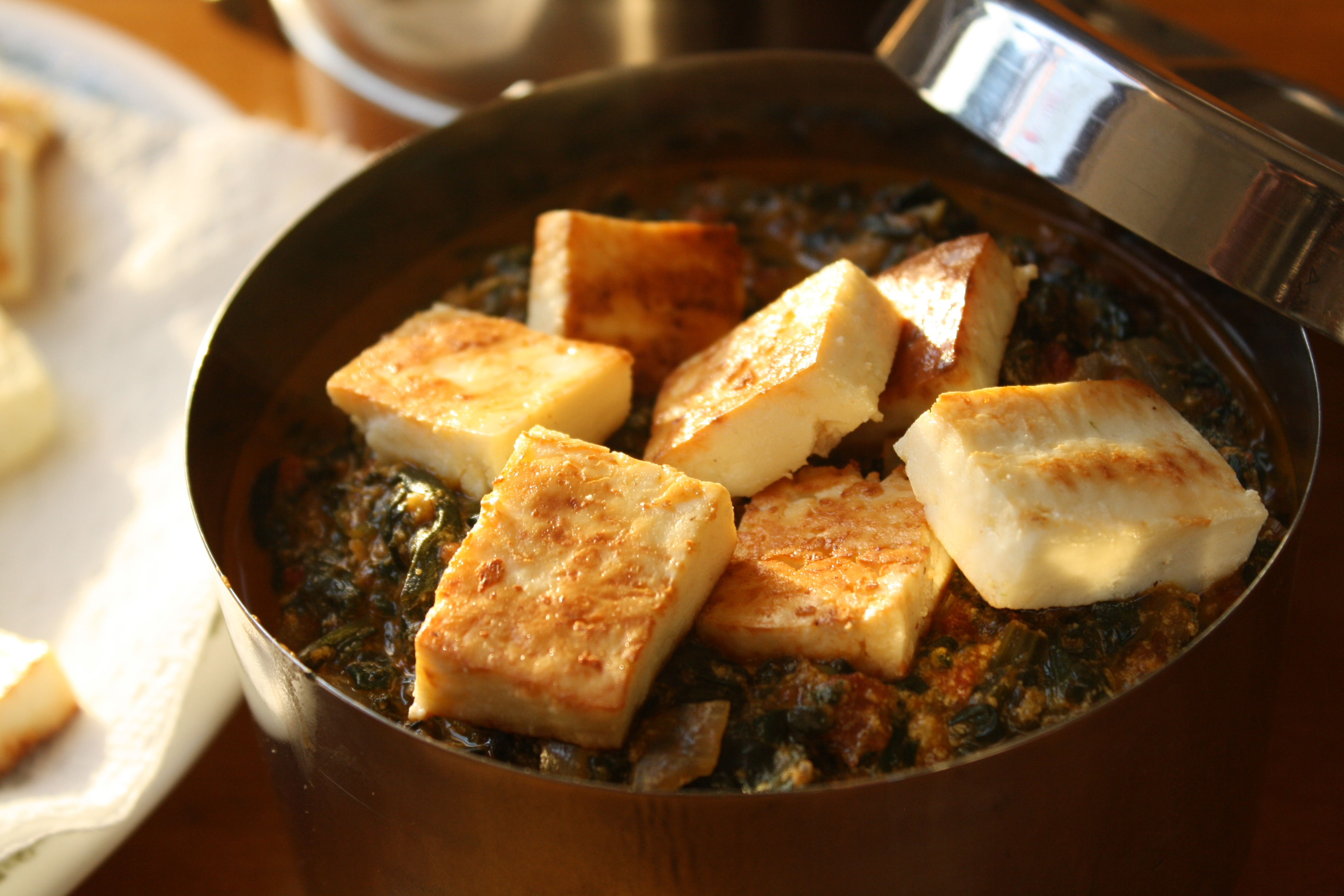 Spinach With Indian Cheese Recipe — Dishmaps